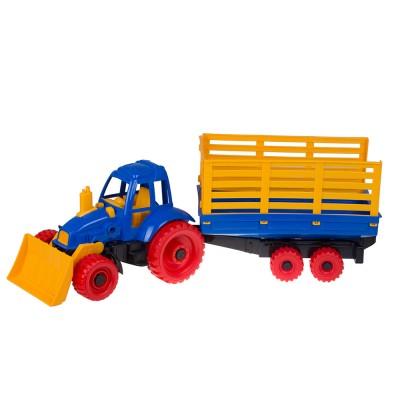 Трактор с грейдером и прицепом 17х17хх60 см