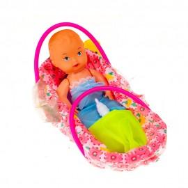 Кукла 15 см в корзине с соской