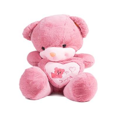 Медведь 80 см с сердцем, темно-розовый