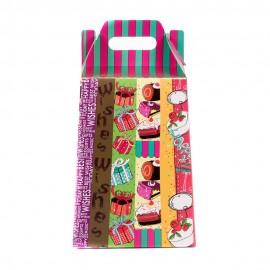 Пакет-коробка для подарков 25х18 см