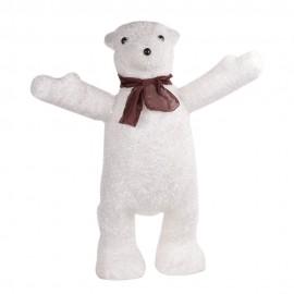 Новогоднее украшение Медведь белый с гирляндой