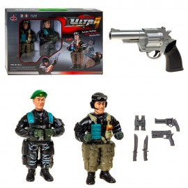 Пистолет с набором для стрельбы Солдаты 2 шт