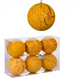 Набор новогодних шаров светящихся 6 шт 10 см  Желтыйх 160 см