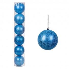 Набор новогодних шаров 6 шт 12 см (цвет голубой)