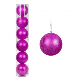 Набор новогодних шаров 6 шт 12 см (цвет розовый)