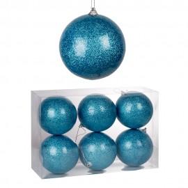 Набор новогодних шаров 6 шт 10 см  (цвет голубой)