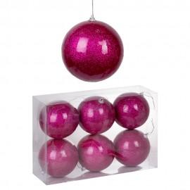 Набор новогодних шаров 6 шт 10 см  (цвет розовый)