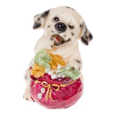 Статуэтка Собачка с мешочком денег 12 см