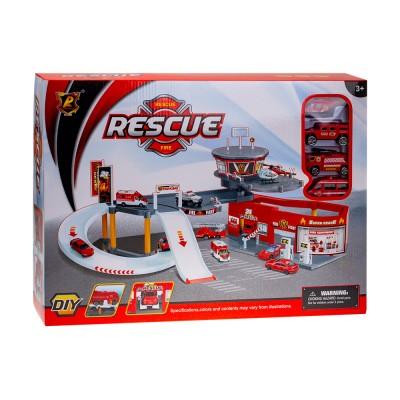 Набор Гараж Пожарная служба 3 машины + 1 вертолет