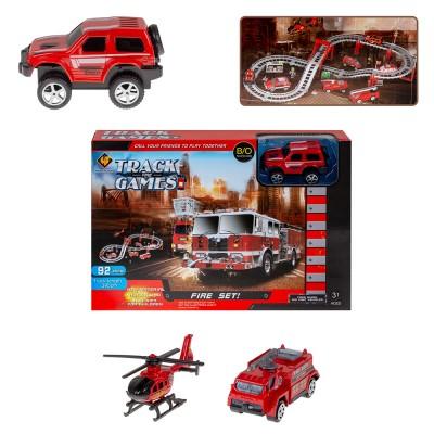 Автотрек с набором металлических машин Пожарная