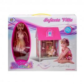 Дом для кукол (кукла+мебель) 42,5х41,5х63,5 см