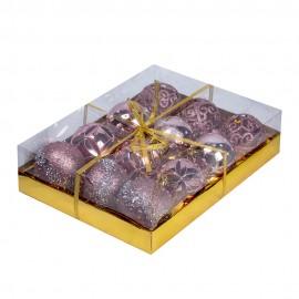 Набор новогодних шаров 12 шт 8 см (цвет розовый-золотой)