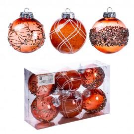 Набор новогодних шаров 6 шт 8 см (цвет шампань)