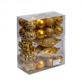 Набор новогодних игрушек Ассорти 24 шт 6 см,4 шт 17 см,2 шт 10 см (цвет золото)
