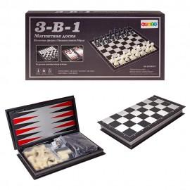 Настольная игра 3 в 1 Шахматы на магнитах 32х16х4 см