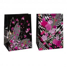 Пакет подарочный 33х45х25 см Цветочный принт