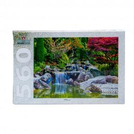 """Пазл 560 деталей """"Каскадный водопад в японском саду"""""""
